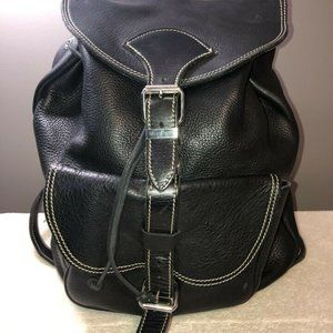 Roots Black Papa Alex leather backpack